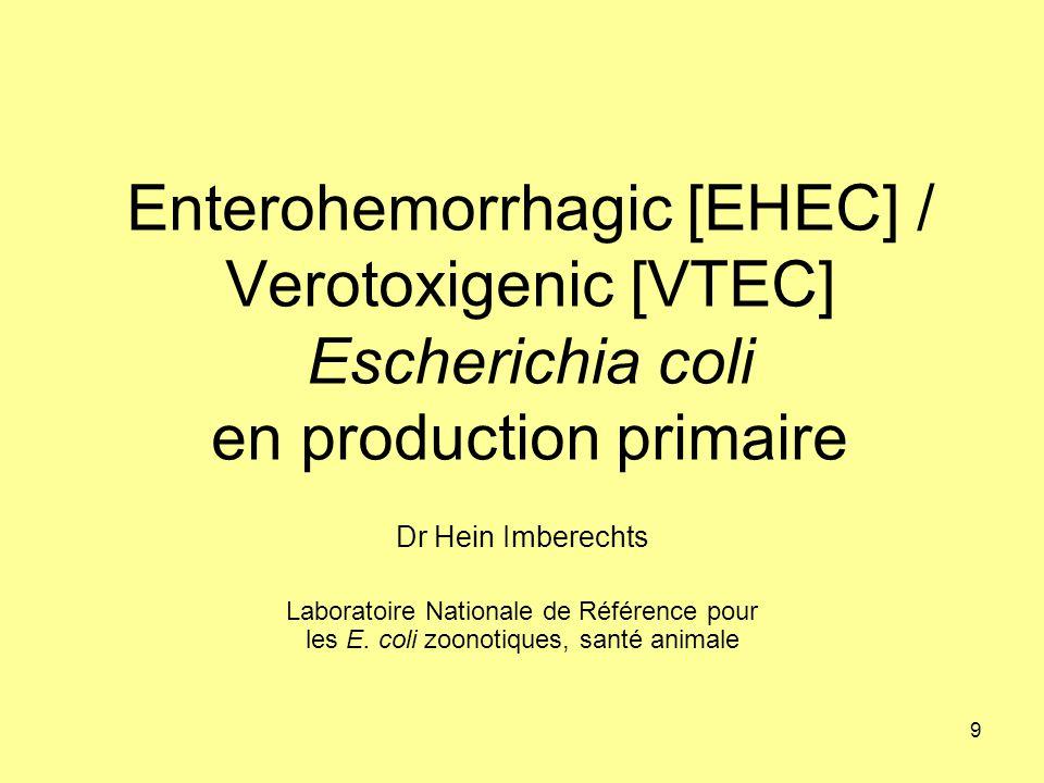 Enterohemorrhagic [EHEC] / Verotoxigenic [VTEC] Escherichia coli en production primaire